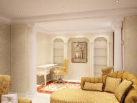 желтая гостиная, вид на кабинетную зону