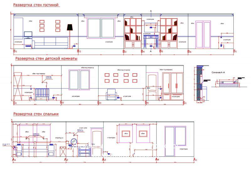 Развертка стен гостиной, спальни и детской